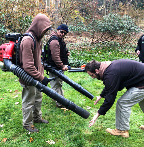Testing Strength Of Battery-Powered Backpack Blowers