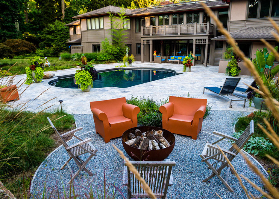 Pool Patio Landscape With Fire Pit And Container Plantings