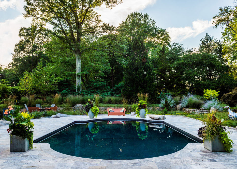 Pool Patio Masonry With Container Plantings By Terren Landscapes