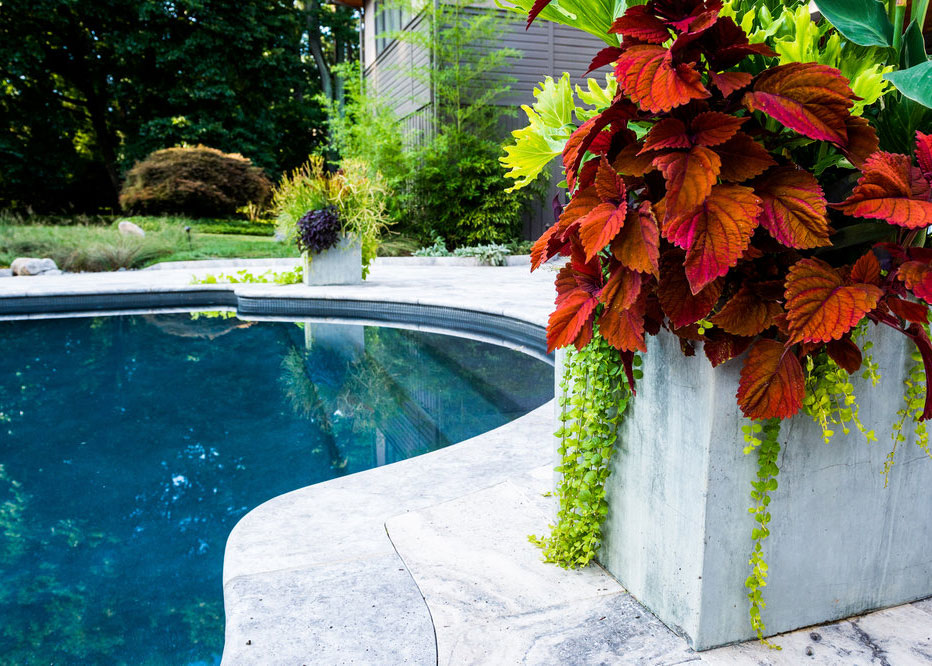 Square Stone Container For Custom Annual Plantings By Pool Landscape